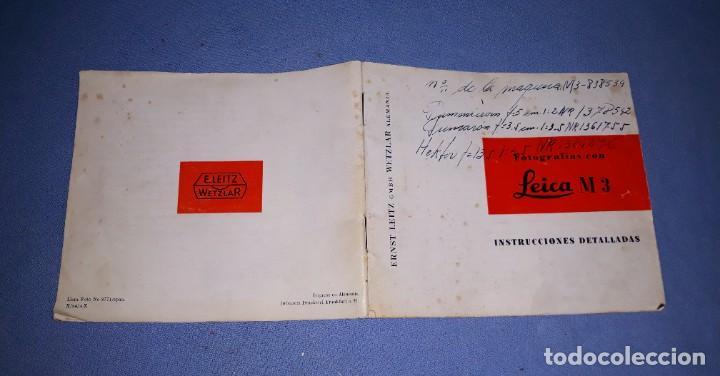 INSTRUCCIONES DETALLADAS CAMARA LEICA M3 EN ESPAÑOL ORIGINAL (Cámaras Fotográficas - Catálogos, Manuales y Publicidad)