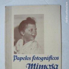 Cámara de fotos: PAPELES FOTOGRAFICOS MIMOSA-CATALOGO 857-PUBLICIDAD DE FOTOGRAFIA-VER FOTOS-(K-1526). Lote 233159365