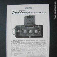 Cámara de fotos: VOIGTLÄNDER-STEREFLEKTOSKOP-CATALOGO PUBLICIDAD DE FOTOGRAFIA-VER FOTOS-(K-1540). Lote 233162485