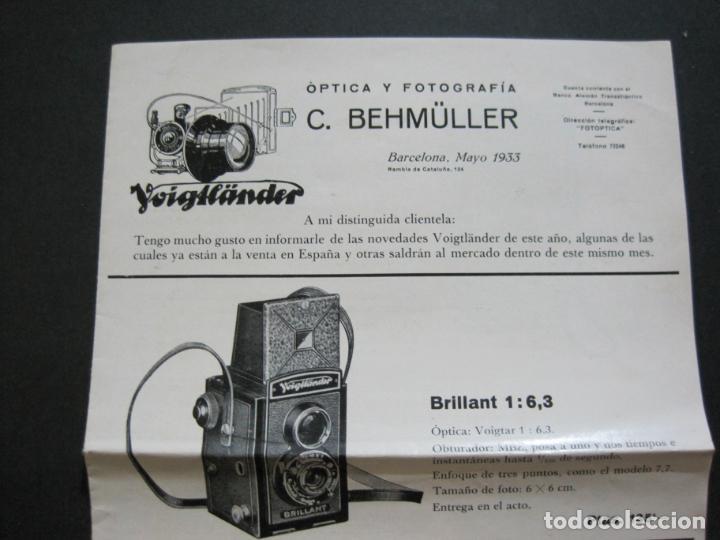Cámara de fotos: BARCELONA-FOTOGRAFIA C.BEHMÜLLER-VOIGTLÄNDER-1933-CATALOGO PUBLICIDAD FOTOGRAFIA-VER FOTOS-(K-1556) - Foto 2 - 233301740