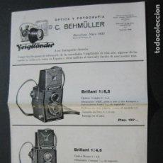 Cámara de fotos: BARCELONA-FOTOGRAFIA C.BEHMÜLLER-VOIGTLÄNDER-1933-CATALOGO PUBLICIDAD FOTOGRAFIA-VER FOTOS-(K-1556). Lote 233301740
