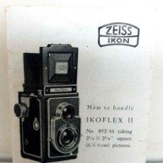 Fotocamere: ZEISS IKON IKOFLEX II, MANUAL DE INSTRUCCIONES. Lote 234037855