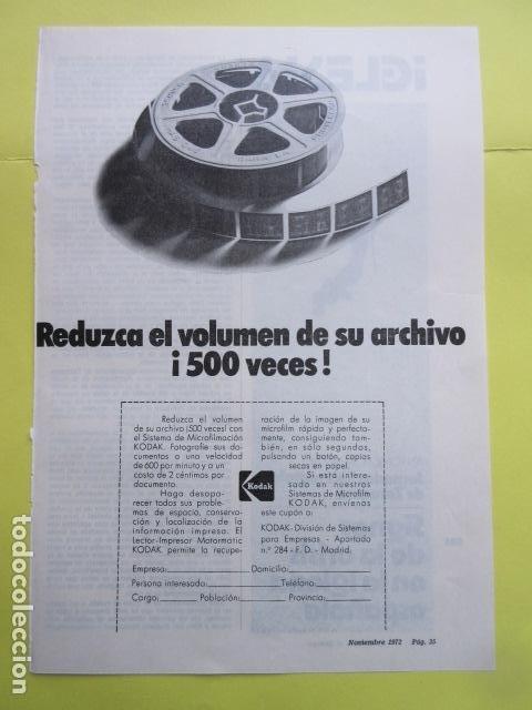 PUBLICIDAD 1972 - KODAK (Cámaras Fotográficas - Catálogos, Manuales y Publicidad)