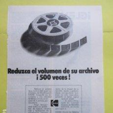 Cámara de fotos: PUBLICIDAD 1972 - KODAK. Lote 235081485
