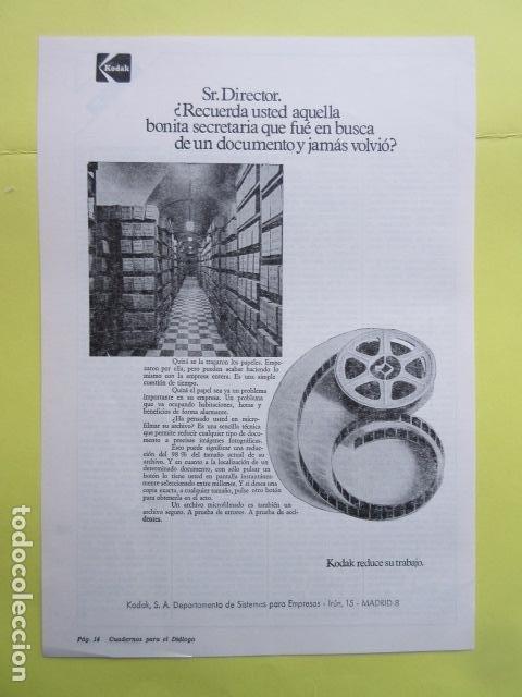 PUBLICIDAD 1973 - KODAK (Cámaras Fotográficas - Catálogos, Manuales y Publicidad)