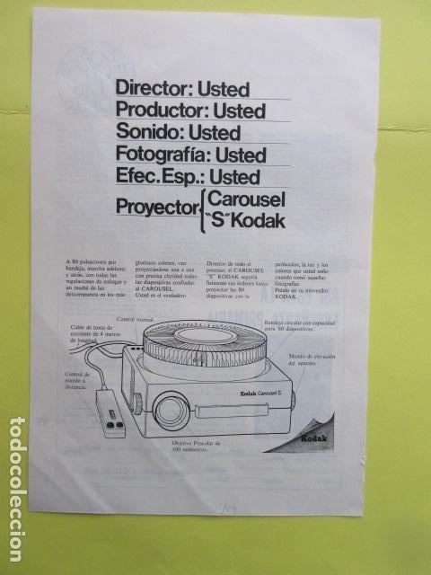 PUBLICIDAD 1969 - KODAK CAROUSEL DIAPOSITIVAS (Cámaras Fotográficas - Catálogos, Manuales y Publicidad)