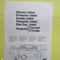 Cámara de fotos: PUBLICIDAD 1969 - KODAK CAROUSEL DIAPOSITIVAS. Lote 235081760