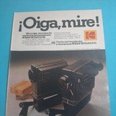 Cámara de fotos: KODAK - CINECAMARA -1 PAG.34 X 26 CM - PUBLICIDAD AÑO 1975 - RECORTE - VER DETALLES. Lote 236039845