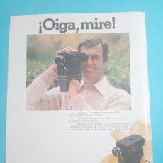 Cámara de fotos: KODAK - CINECAMARA -1 PAG.34 X 26 CM - PUBLICIDAD AÑO 1975 - RECORTE - VER DETALLES. Lote 236040295