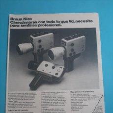 Cámara de fotos: BRAUN NIZO CINECAMARAS -1 PAG.34 X 26 CM - PUBLICIDAD AÑO 1975 - RECORTE - VER DETALLES. Lote 236047095