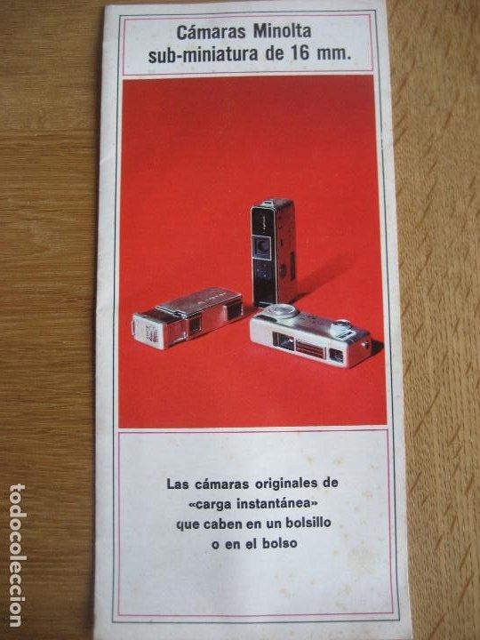 MINOLTA. SUB- MINIATURA DE 16 MM. DESPLEGABLE A 4 DE 38 X 21 CMS. (Cámaras Fotográficas - Catálogos, Manuales y Publicidad)