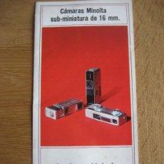Cámara de fotos: MINOLTA. SUB- MINIATURA DE 16 MM. DESPLEGABLE A 4 DE 38 X 21 CMS.. Lote 236299955