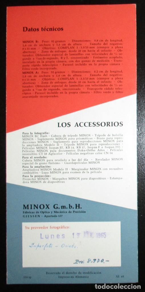 Cámara de fotos: TRÍPTICO PUBLICITARIO DE LA CÁMARA EN MINIATURA MINOX. ORIGINAL DE 1965 EN ESPAÑOL. - Foto 4 - 242382315