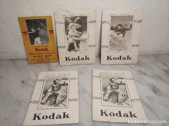 LOTE 5 ANTIGUOS SOBRES KODAK PARA FOTOS Y NEGATIVOS (Cámaras Fotográficas - Catálogos, Manuales y Publicidad)