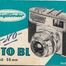 Cámara de fotos: FOLLETO INSTRUCCIONES EN ESPAÑOL CAMARA FOTOGRAFICA VOIGTLANDER VITO BL 24 X 36 -36MM - ALEMANA. Lote 243494305