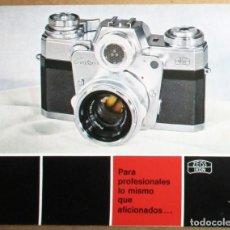 Cámara de fotos: FOLLETO PUBLICITARIO DESPLEGABLE DE LA CÁMARA CONTAREX DE ZEISS IKON. ORIGINAL DE 1965. EN ESPAÑOL.. Lote 243671505