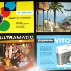 Cámara de fotos: TRES CATÁLOGOS Y UNA HOJA PUBLICITARIA DE CÁMARAS Y OBJETIVOS VOIGTLANDER DE LOS AÑOS 60.. Lote 245114075