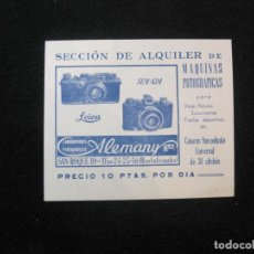 Cámara de fotos: LABORATORIOS FOTOGRAFICOS ALEMANY HNOS-VALE ALQUILER MAQUINA FOTOGRAFICA-VER FOTOS-(79.703). Lote 254428050