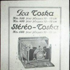 Cámara de fotos: INSTRUCCIONES DE USO DE LAS CÁMARAS FOTOGRÁFICAS ICA TOSKA. EN FRANCÉS.. Lote 255637910