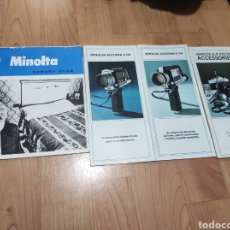 Cámara de fotos: LOTE DE 4 FOLLETOS DE MINOLTA : MINOLTA AUTOPAK-8 D4, D6, SLR SYSTEM ACCESSORIES Y CAMARA CLUB. Lote 258117340