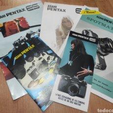 Cámara de fotos: LOTE DE 5 CATALOGOS DE ASAHI PENTAX : SPOTMATIC II, ES , ES II, ES Y PENTAX. Lote 258118450