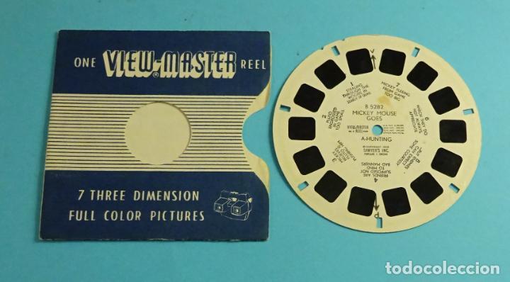 DISCO PARA VISOR ESTEREOSCÓPICO. VIEW-MASTER. 7 IMÁGENES 3D A COLOR. MICKEY MOUSE GOES A HUNTING (Cámaras Fotográficas - Visores Estereoscópicos)