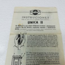 Fotocamere: MANUAL DE INSTRUCCIONES UNIVEX. INSTRUCCIONES PARA EL USO DE LA CÁMARA FOTOGRÁFICA UNICA II.. Lote 297018753