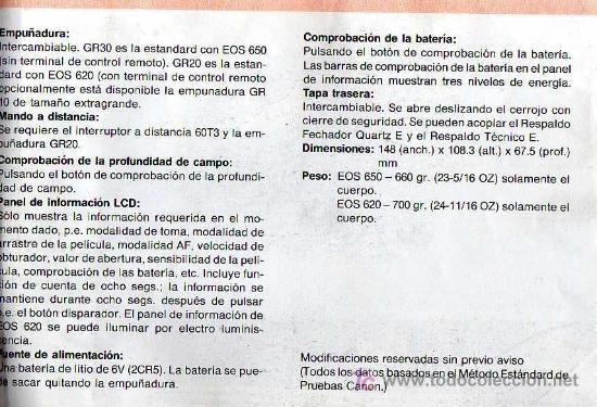 Cámara de fotos: CÁMARA REFLEX AUTOFOCO - CANON EOS 620 - Foto 5 - 26672517