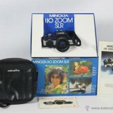 Cámara de fotos: CAMARA FOTOGRAFICA MINOLTA MODELO 110 SLR. CAJA ORIGINAL, FUNDA E INSTRUCCIONES. 1979.. Lote 49688113