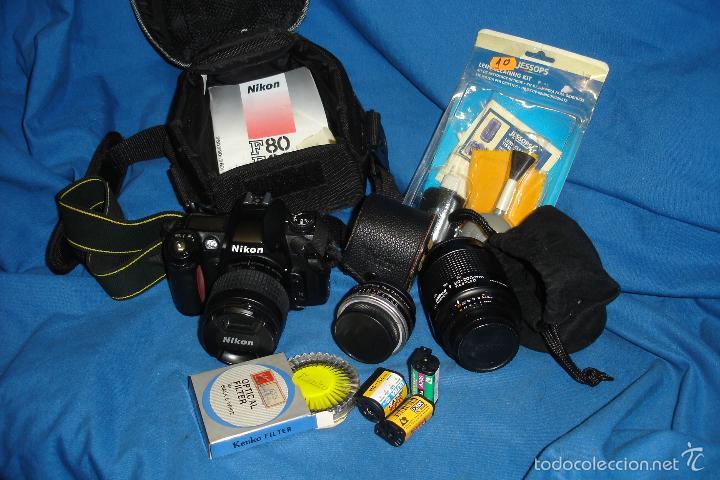 CÁMARA FOTOGRÁFICA NIKON F80 CON TRES OBJETIVOS MÁS ACCESORIOS (Cámaras Fotográficas - Réflex (autofoco))