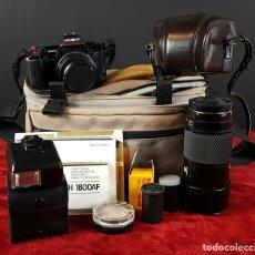 Cámara de fotos: CONJUNTO DE CAMARA MINOLTA 5000 AF. LENTE MINOLTA 70-210. ESTUCHE ACOLCHADO. 1987. . Lote 76952309