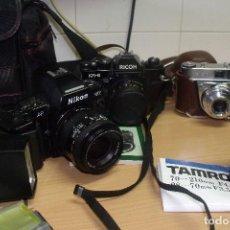 Cámara de fotos: NIKON F-801 + RICOH KR-5 + KODAK RETINETTE + MACRO 70-210 TAMRON + FLASH VIVITAR + BOLSA. Lote 85982820