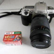 Cámara de fotos: CAMARA NIKON F60 MÁS OBJETIVO ZOOM VIVITAR SERIE 1 - 70-210MM. Lote 123065331