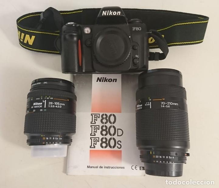 CÁMARA NIKON F80, MANUAL DE INSTRUCCIONES ORIGINAL Y OBJETIVOS 70-210 Y 28-105 (Cámaras Fotográficas - Réflex (autofoco))