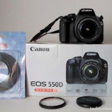 Cámara de fotos: CÁMARA REFLEX CANON EOS 550D, OBJETIVO EF-S 18-55MM F3,5-5.6IS CON CAJA, 18.0 MEGAPIXELES, VIDEO.... Lote 139654418