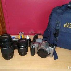 Cámara de fotos: EXCELENTE LOTE CANON EOS 3000N CON CANON ZOOM 28-80 MM- REGALO 75-300MM, Y MAS COSAS. Lote 146542454