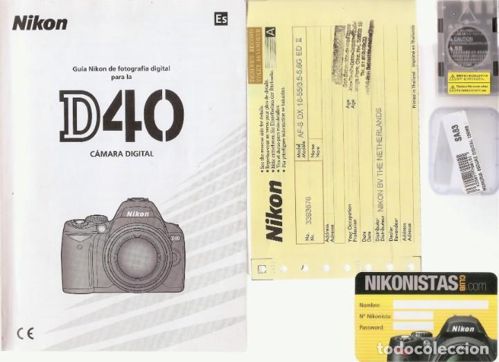 Cámara de fotos: PACK CÁMARA DIGITAL REFLEX NIKON D40 COMPLETA- COMO NUEVA-4500 DISPAROS. - Foto 6 - 214479208