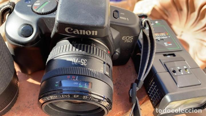 Cámara de fotos: CAMARA CANON EOS 750-850 ANALOGICA CON FLASH TELEOBJETIVO Y FUNDA - Foto 5 - 221499702