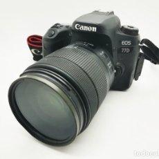 Cámara de fotos: CÁMARA DIGITAL RÉFLEX CANON EOS 77D 24,2MPX CON EF-S 18-135MM IS NANO USM + CARGADOR UNIVERSAL. Lote 236323635