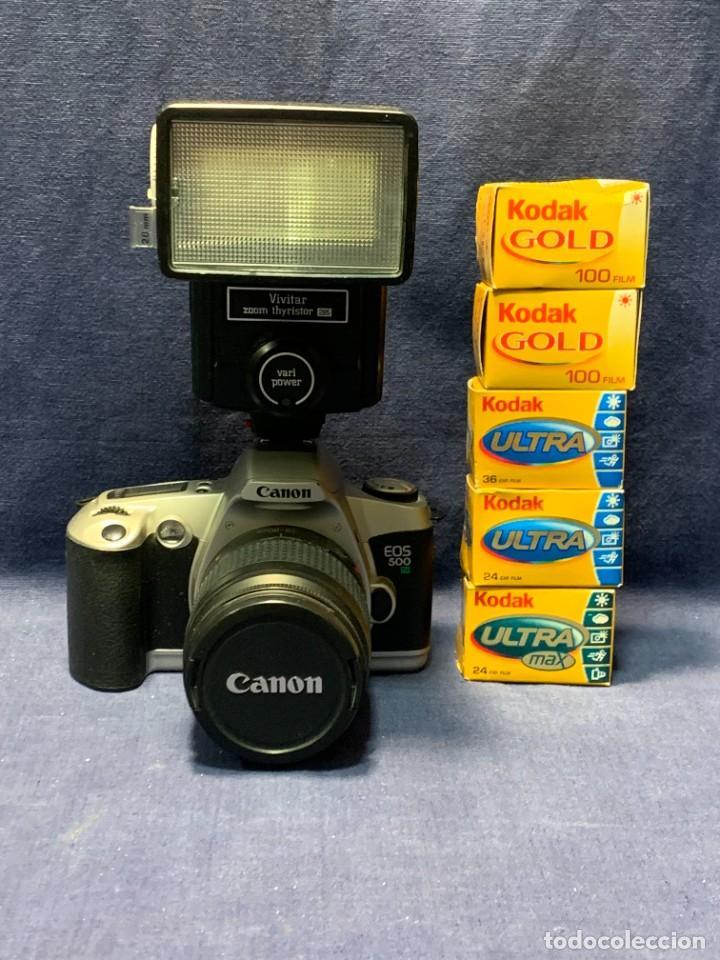 CAMARA FOTOS CANON EOS 500 1:3.5-5.6 28-80 MM COMPLEMENTOS CARRETES FLASH (Cámaras Fotográficas - Réflex (autofoco))