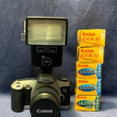 Cámara de fotos: CAMARA FOTOS CANON EOS 500 1:3.5-5.6 28-80 MM COMPLEMENTOS CARRETES FLASH. Lote 243521175