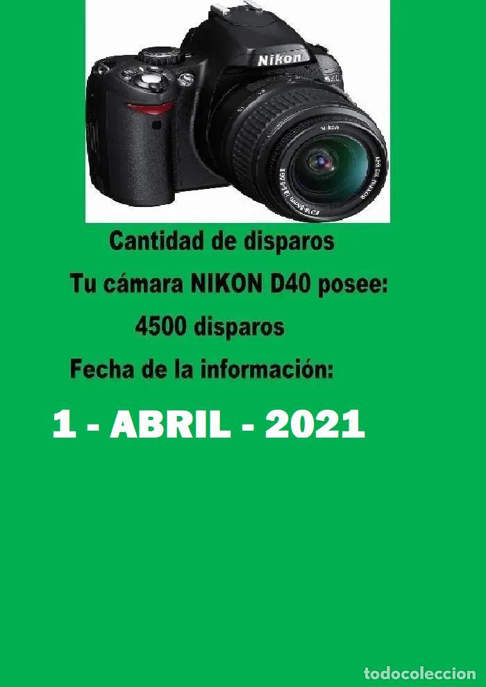 Cámara de fotos: PACK CÁMARA DIGITAL REFLEX NIKON D40 COMPLETA- COMO NUEVA-4500 DISPAROS. - Foto 2 - 214479208