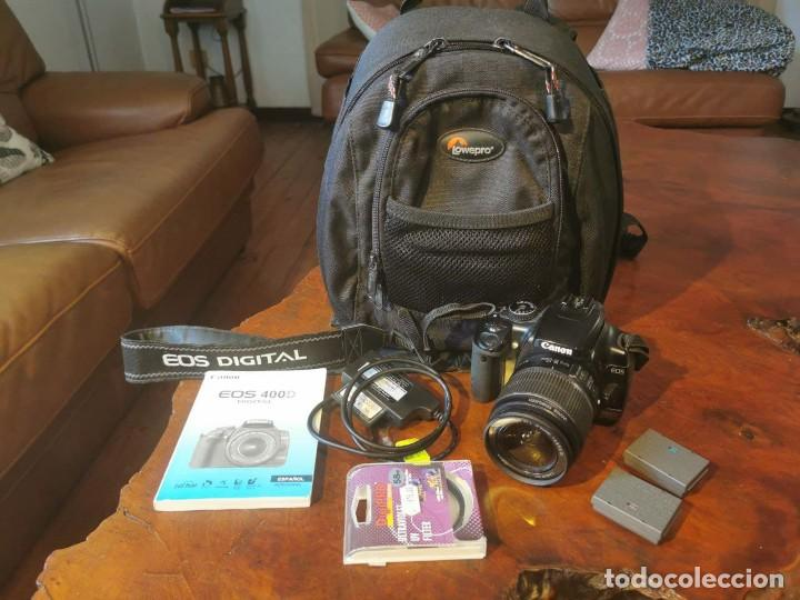EQUIPO FOTOGRAFIA CANON EOS 400D, MOCHILA LOWEPRO, 2 TARJETAS M. 128 MB Y 32 MB, 3 BATERIAS, FILTRO (Cámaras Fotográficas - Réflex (autofoco))