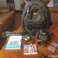 Cámara de fotos: EQUIPO FOTOGRAFIA CANON EOS 400D, MOCHILA LOWEPRO, 2 TARJETAS M. 128 MB Y 32 MB, 3 BATERIAS, FILTRO. Lote 258963890