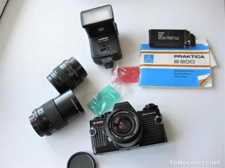 Cámara de fotos: CÁMARA REFLEX PRAKTICA B 200, CON 3 OBJETIVOS FLSAH, MANUAL Y BOLSA ORIGINALES. NO PROBADA - Foto 7 - 265499939