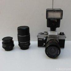 Cámara de fotos: CAMARA CX6 PORST REFLEX - CON 3 OBJETIVOS Y UN FLAHS HANIMEX. Lote 268750614