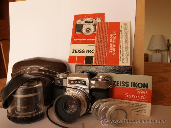 ZEISS IKON CONTAFLEX SUPER BC + FUNDA + PRO-TESSAR 35MM 3.2 + GUIA / EXCELENTE ESTADO Y FUNCIONANDO (Cámaras Fotográficas - Réflex (no autofoco))