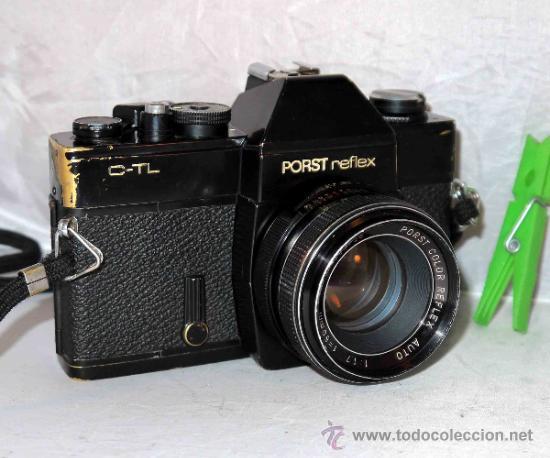 EXCELENTE CAMARA REFLEX..JAPON 1975..PORST REFLEX C-TL NEGRA+PORST COLOR 1,7....FUNCIONA (Cámaras Fotográficas - Réflex (no autofoco))