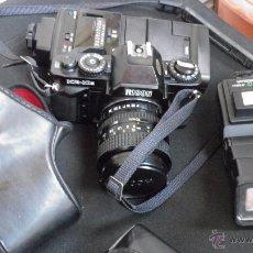 Cámara de fotos: RICOH.JAPONESA,OBJETIVO,FILTRO,DOS FLASH,BOLSA,FILM 24 EXP.VER IMAGENES Y DETALLES EN IMAGENES. Lote 50071521