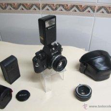 Cámara de fotos: CÁMARA NIKON EM + 50 MM/1,8 E + FLASH ESPECÍFICO SB-E + DUPLICADOR TAMRON EM + ESTUCHES. Lote 126614152
